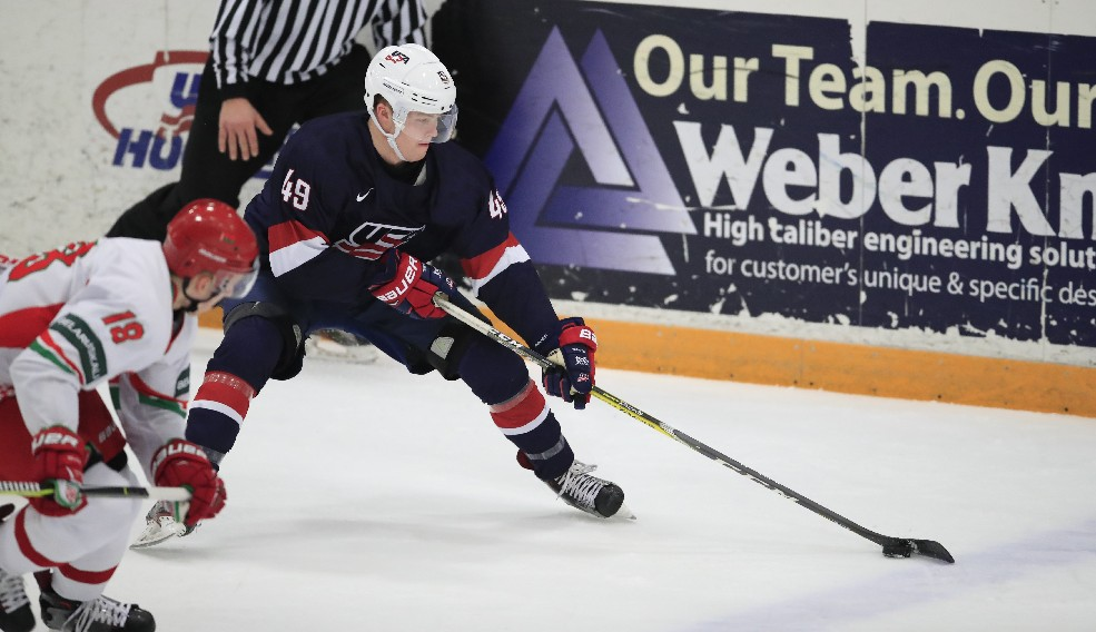 USA forward Max Jones skates with the puck against Belarus. (Harry Scull Jr./ Buffalo News)
