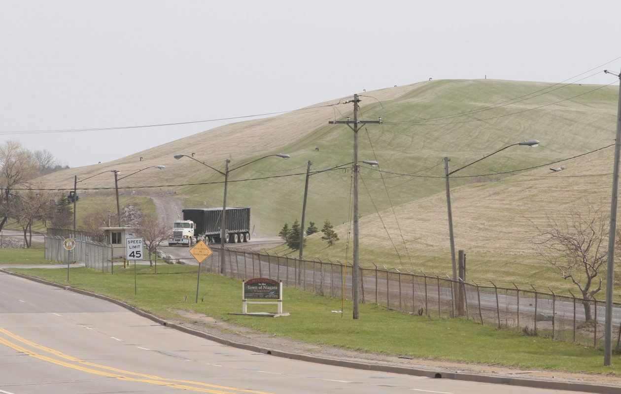 The entrance to the large landfill on Packard Road in the Town of Niagara in a file photo from April 18, 2013.  (Derek Gee/Buffalo News)