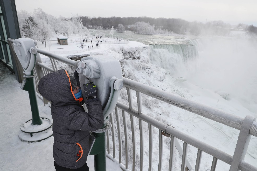 Niagara Falls made international news earlier this month when ice crusted over the cataracts because of the extreme cold, giving it a 'frozen appearance.' (Sharon Cantillon/Buffalo News)