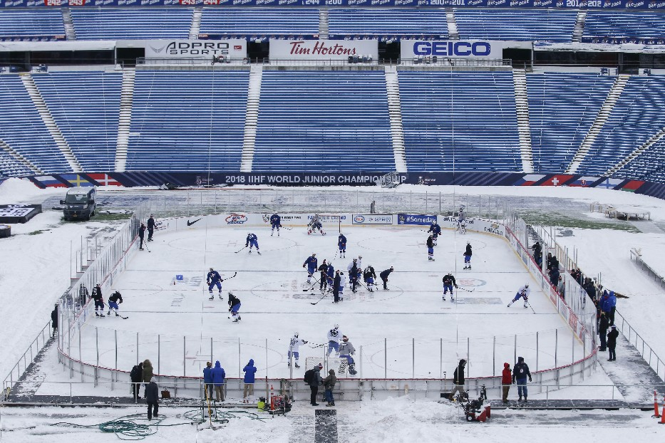 Team USA practices on the rink at New Era Field (Derek Gee/Buffalo News)