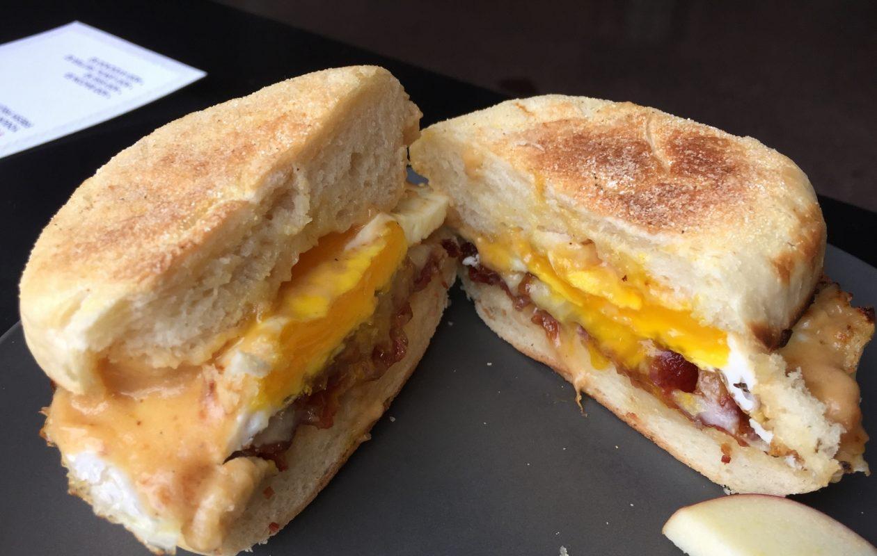 Public Espresso's breakfast sandwich comes on a housemade English muffin. (Andrew Galarneau/Buffalo News)