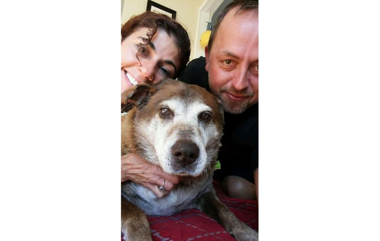 Rosemary and Jamie Billquist with Katie, who lived to be 14, a dog they rescued from a shelter. (Image courtesy Jamie Billquist)