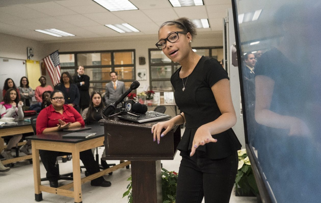 Ninth-grader Gabrielle Baldwin, 14, delivers a presentation in the new Urban Teacher Academy at McKinley High School. The program partners with SUNY Buffalo State and the Buffalo Teachers Federation to diversify future teaching staffs by grooming students from within the district. (Derek Gee/Buffalo News)