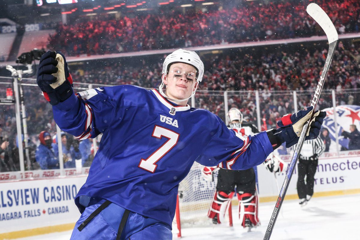 Brady Tkachuk celebrates after scoring against Canada on Friday. Tkachuk has been a force for Team USA during the World Junior Hockey Championship, recording two goals and an assist in three games. (James P. McCoy/Buffalo News)