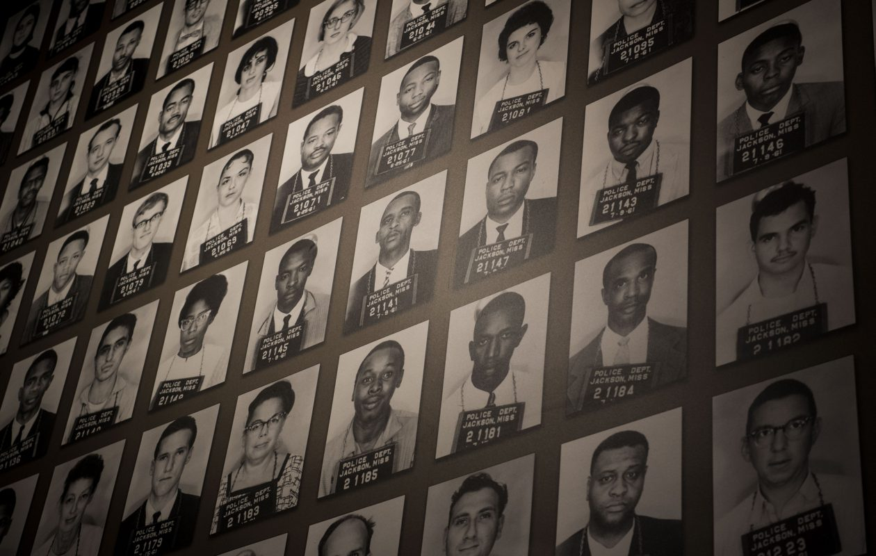 A mural of Freedom Riders arrested in Jackson, Miss., at the Mississippi Civil Rights Museum. (Washington Post photo by Carolyn Van Houten)