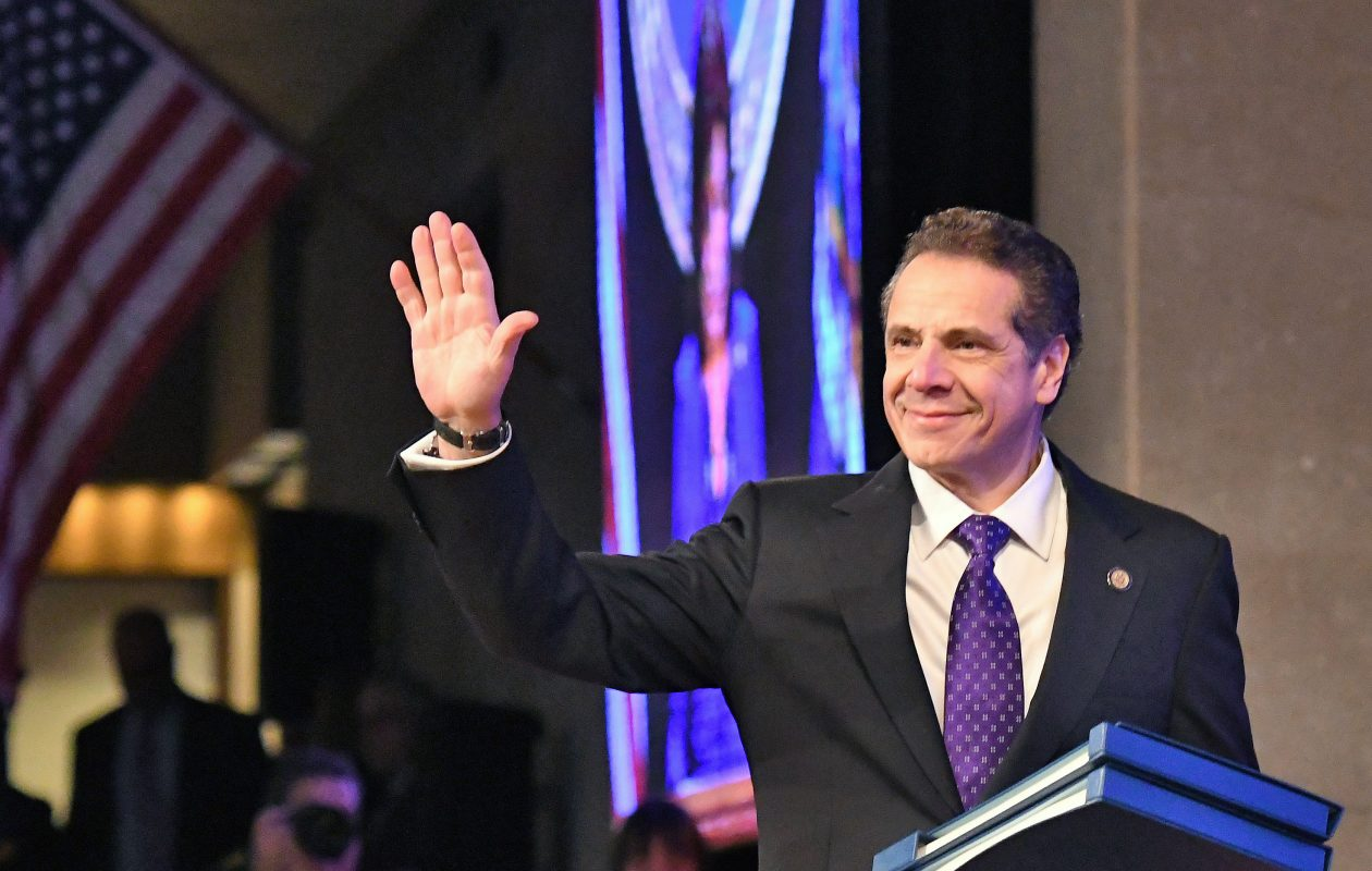 Gov. Cuomo takes the stage to deliver his 2018 State of the State Address at the Empire State Plaza Convention Center, Tuesday Jan. 3, 2018 in Albany. (John Carl D'Annibale/Times Union)