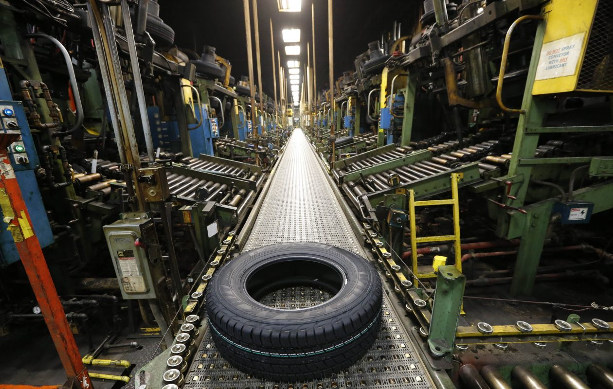 A new Falken tire comes off the curing line at the Sumitomo Rubber USA tire manufacturing plant in Tonawanda in November 2016. Sumitomo is in the middle of an $87 million plant expansion.  (Derek Gee/Buffalo News file photo)