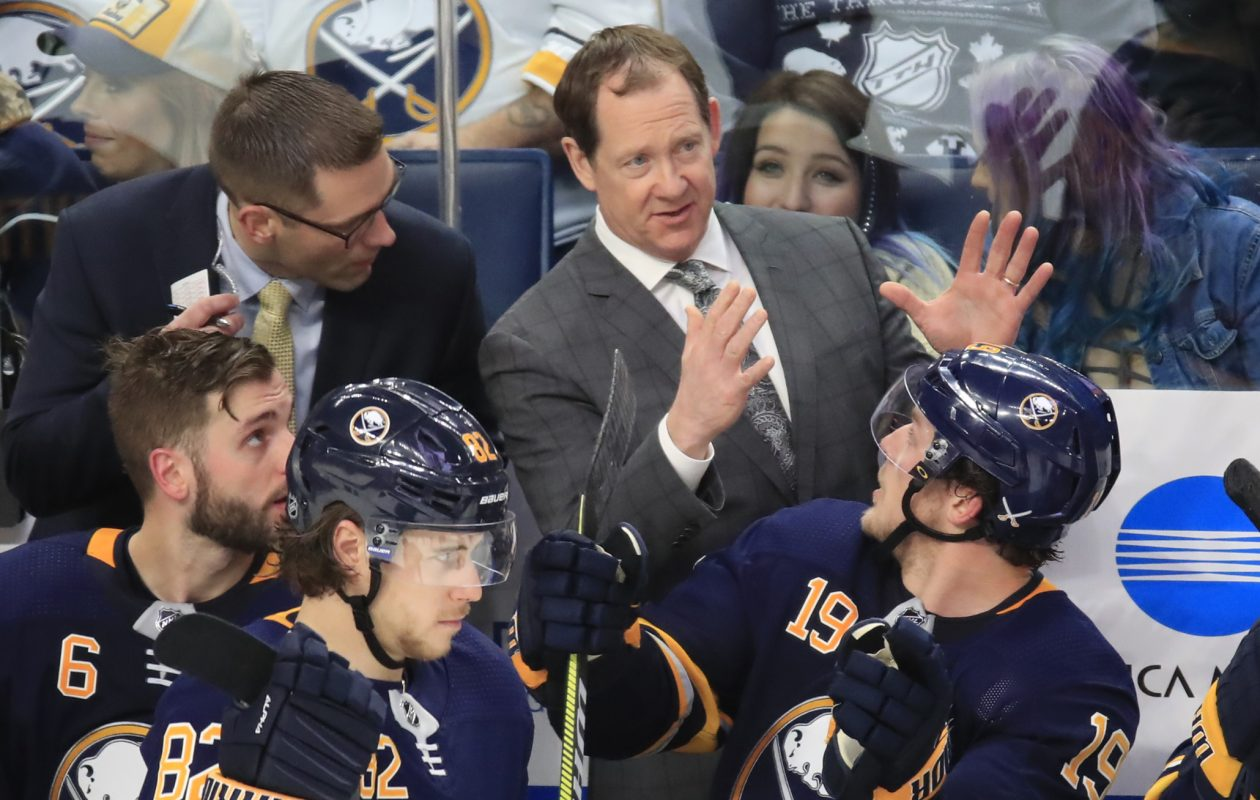 Phil Housley got some improvement out of the Sabres in the second half of his rookie season as a head coach. (Harry Scull Jr./News file photo)