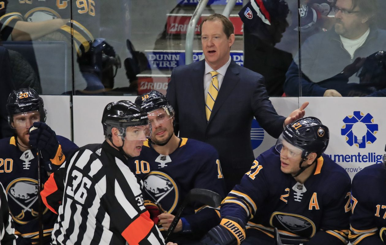 Phil Housley is not happy with NHL justice (Harry Scull Jr./ Buffalo News).