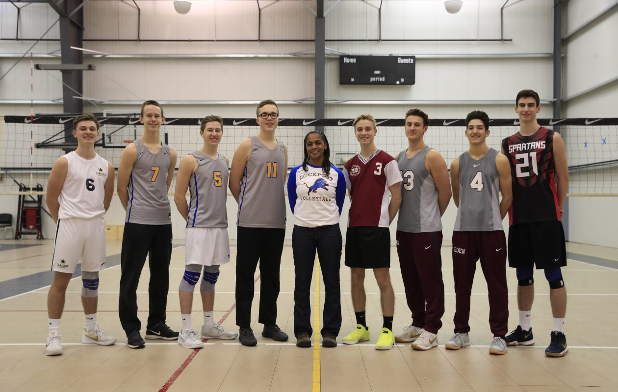 The 2017 Coaches All-Western New York boys volleyball team: Troy Gooch (Canisius), Zach Schneider (Lockport), Marc Bixby (Lockport), Jesse Donrovich (Lockport), Coach of the Year Elizabeth Smorol (Lockport), Jordan Nosal (Maryvale), Collin Rigley (Eden), Drew Hesse (Eden) and Campbell Schoenfeld (Starpoint). (Harry Scull Jr./ Buffalo News)