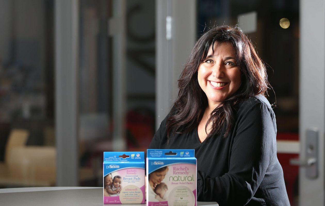 Rachel Jackson's company makes comfort pads for breast-feeding mothers. (Derek Gee/Buffalo News)