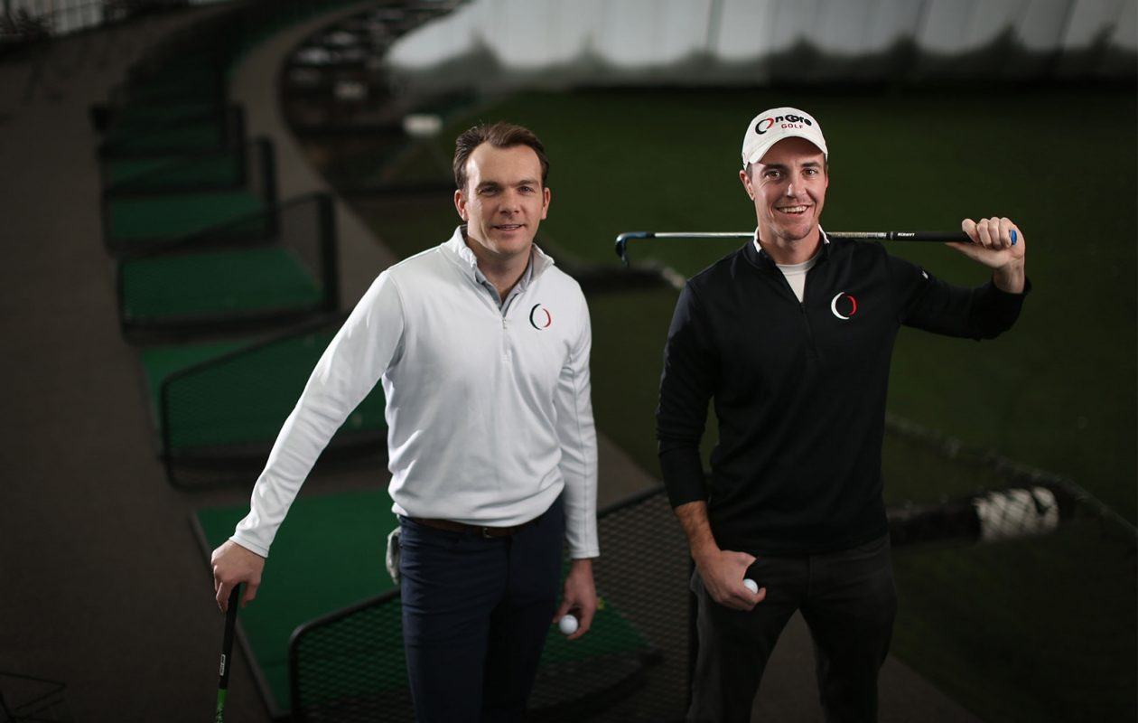 Steve Coulton, left, and Bret Blakely are co-founders of OnCore Golf, which sells a high-tech golf ball. (Derek Gee/Buffalo News)