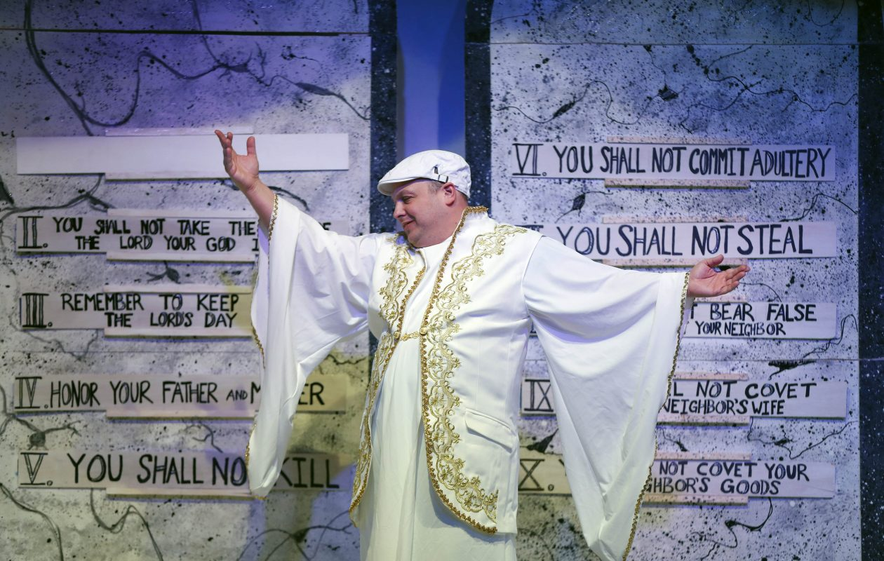Joey Bucheker plays God in O'Connell & Company's 'An Act of God.' (Mark Mulville/Buffalo News)