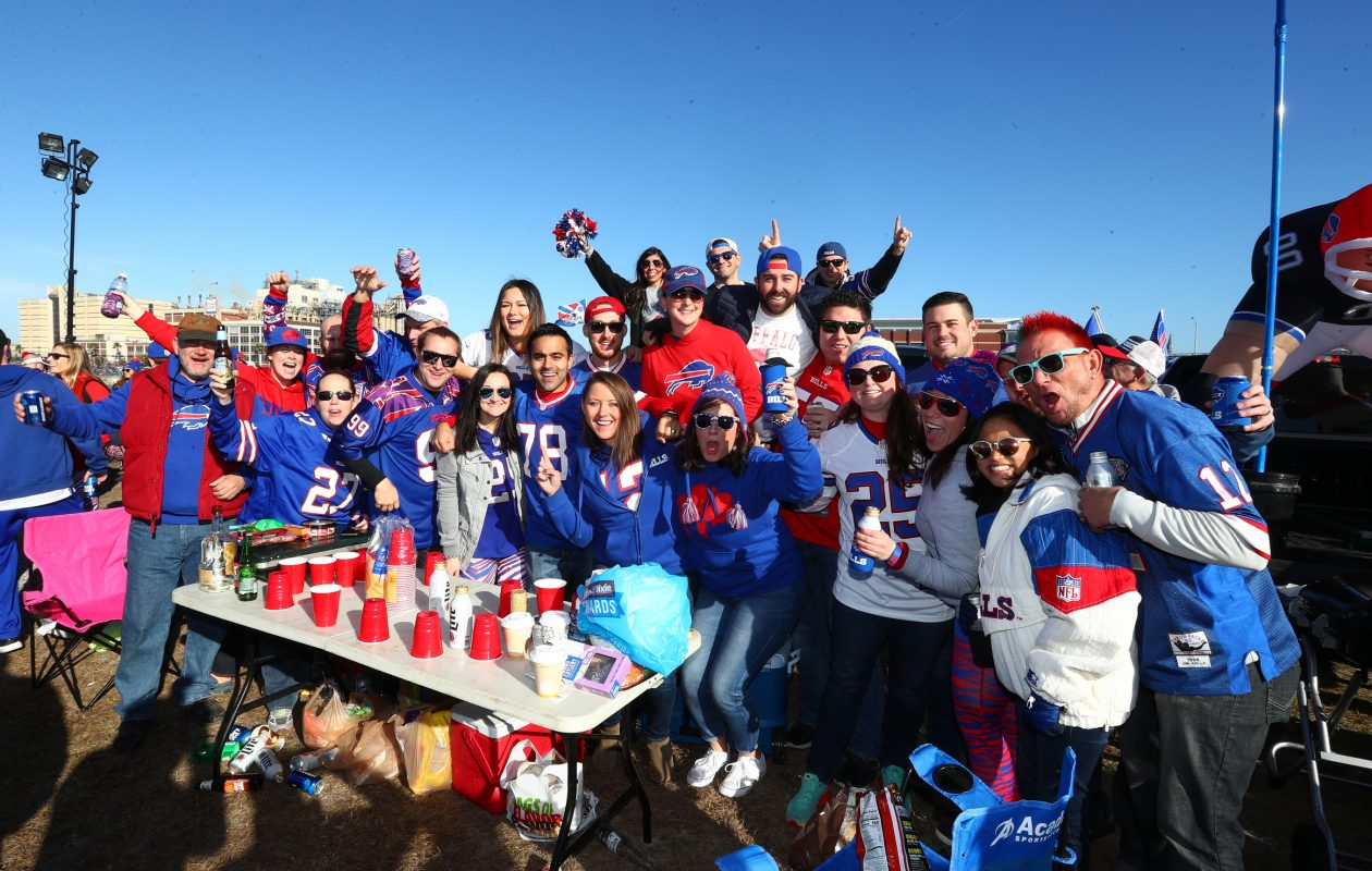 Bills fans tailgating in the parking lot at EverBank Field in Jacksonville on Sunday, Jan. 7, 2018. (James P. McCoy/Buffalo News)