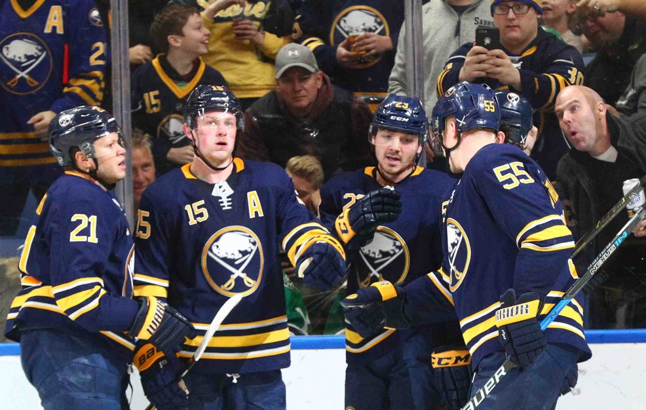 The Sabres, including Kyle Okposo (21), Jack Eichel (15), Sam Reinhart and Rasmus Ristolainen (55), will look to win two in a row for only the second time this season. (James P. McCoy/Buffalo News)