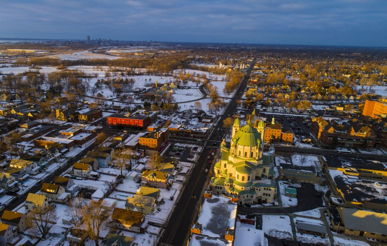 South Park Avenue, looking north from Ridge Road in Lackawanna, where Our Lady Victory Basilica catches the golden rays of the setting sun.  (Derek Gee/Buffalo News)