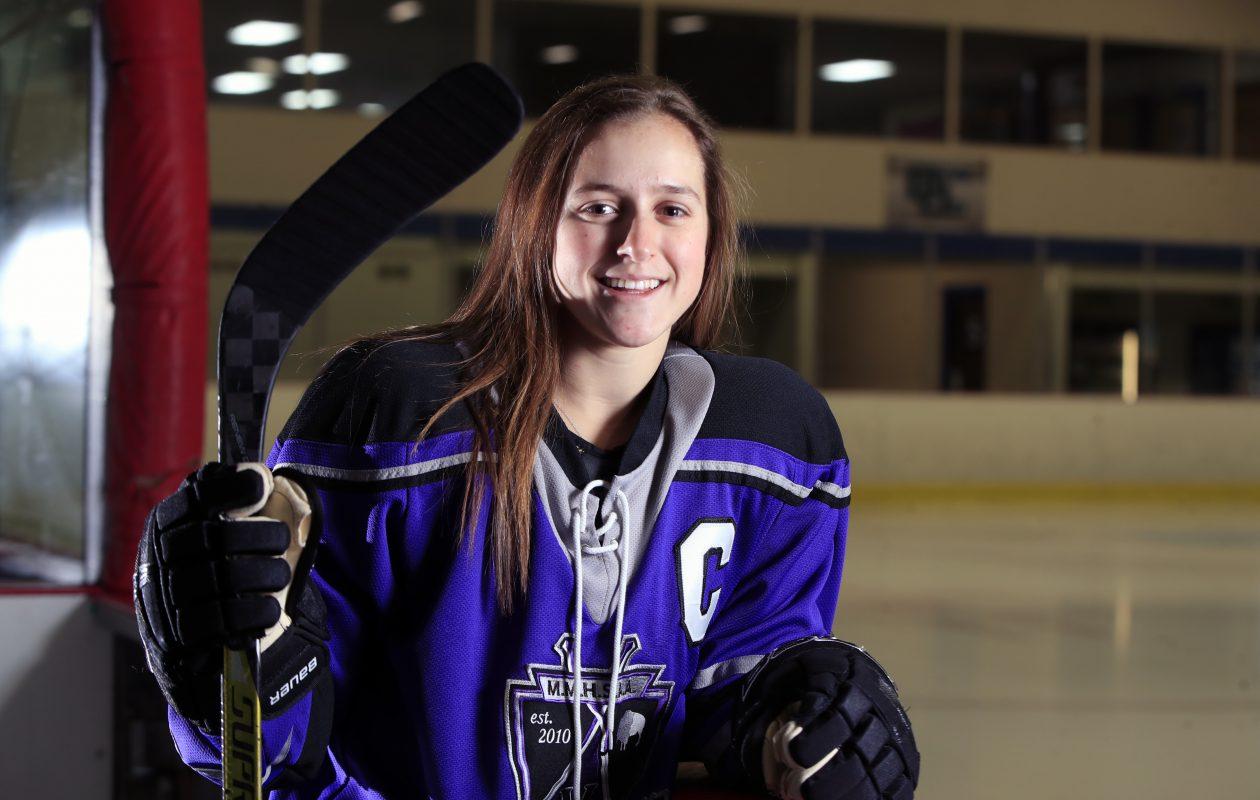 Sacred Heart's Kayla Blas, a member of the Monsignor Martin girls hockey team, is our Prep Talk Female Athlete of the Week. (Harry Scull Jr./ Buffalo News)