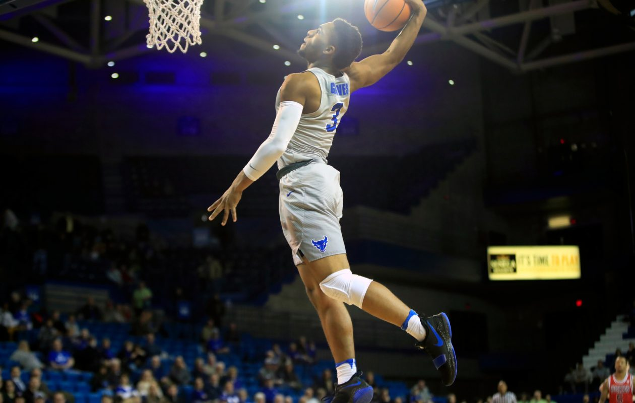 UB's Jayvon Graves dunks against Northern Illinois. (Harry Scull Jr./Buffalo News)