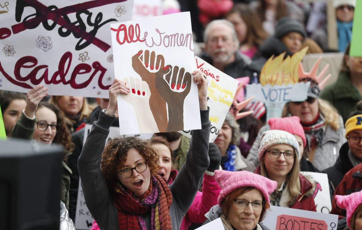 People rally in Niagara Square for the Women's March on Sunday, Jan. 21, 2018. (Mark Mulville/Buffalo News)