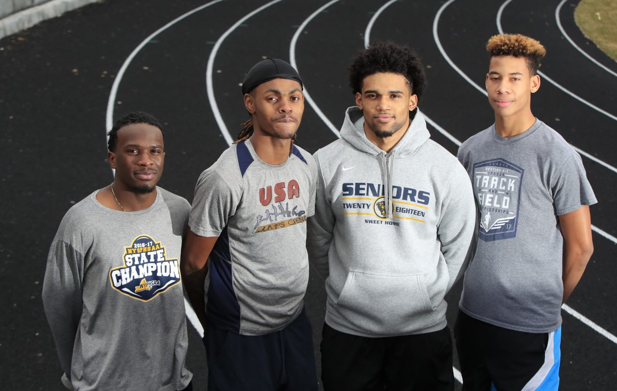 Anthony Williams, Eric Johnson, Thomas Rivera and Nate Davis have shined as a relay team for Sweet Home and set the school record in the 4x200 last weekend in a nationally televised race from New York City. (Harry Scull Jr./ Buffalo News)
