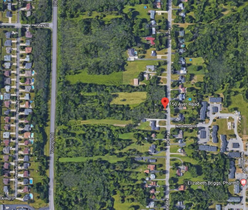 James Gesel plans to build 17 houses on 7 acres of vacant land at 150 Ayer Road, between Ayer and Youngs Road in Amherst. (Google Maps)