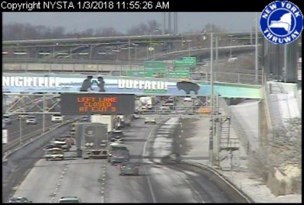 Northbound traffic on the I-190 is backed up to near the Niagara Street exit. (Photo courtesy NITTEC)