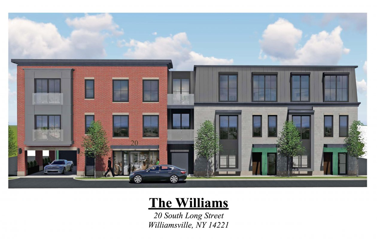 This is a rendering of CRS Companies' revised plans for an apartment building at 20 S. Long St. in Williamsville. (Image courtesy CRS Companies)