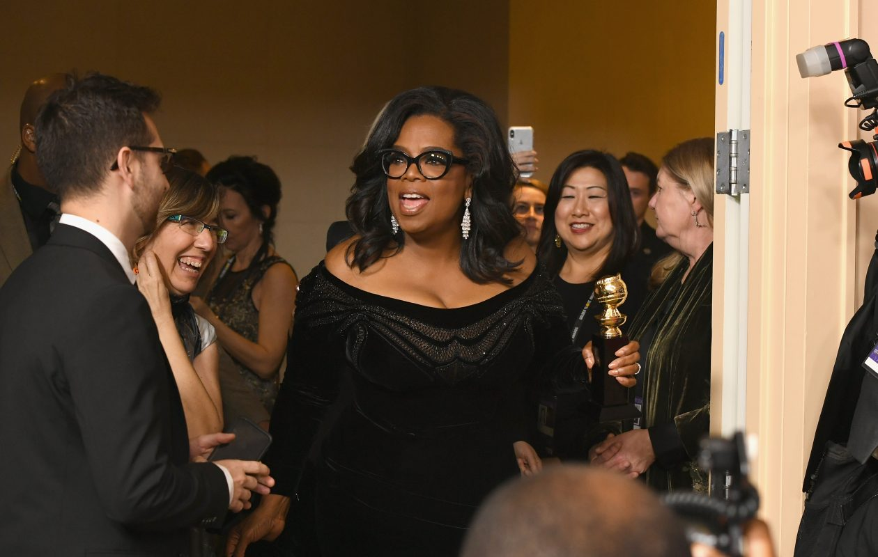 Oprah Winfrey arrives with the Cecil B. DeMille Award in the press room during the 75th Annual Golden Globe Awards at the Beverly Hilton Hotel on Jan. 7, 2018, in Beverly Hills, Calif.  (Kevin Winter/Getty Images)