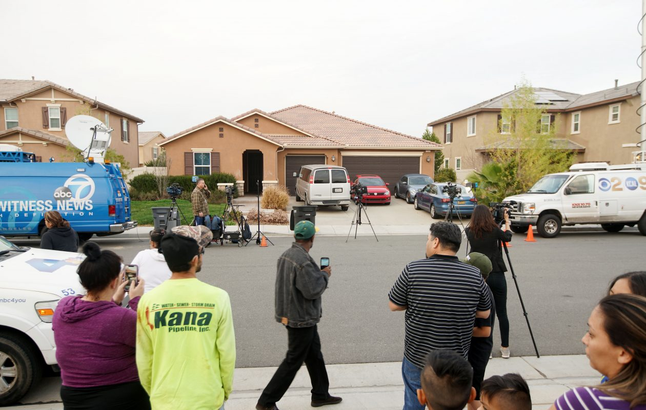 A home where a couple was arrested after police discovered that 13 people had been held captive in filthy conditions with some shackled to beds with chains and padlocks, January 15, 2018 in Perris Calif.  (Getty Images)