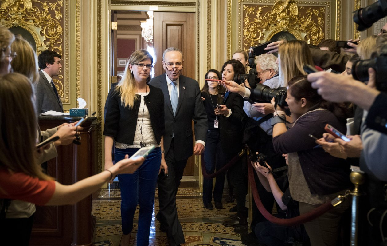 Senate Minority Leader Charles E. Schumer, a New York Democrat, leaves a meeting with Senate Democrats on Capitol Hill during January's government shutdown. (Getty Images)