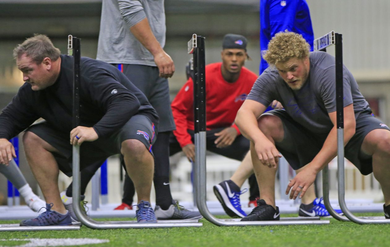 Buffalo Bills Kyle Williams, left, and Eric Wood during a voluntary off-season program at the AdPro training facility on Monday, April 3, 2017. The teammates formed a close friendship over the years. (Harry Scull Jr./Buffalo News)