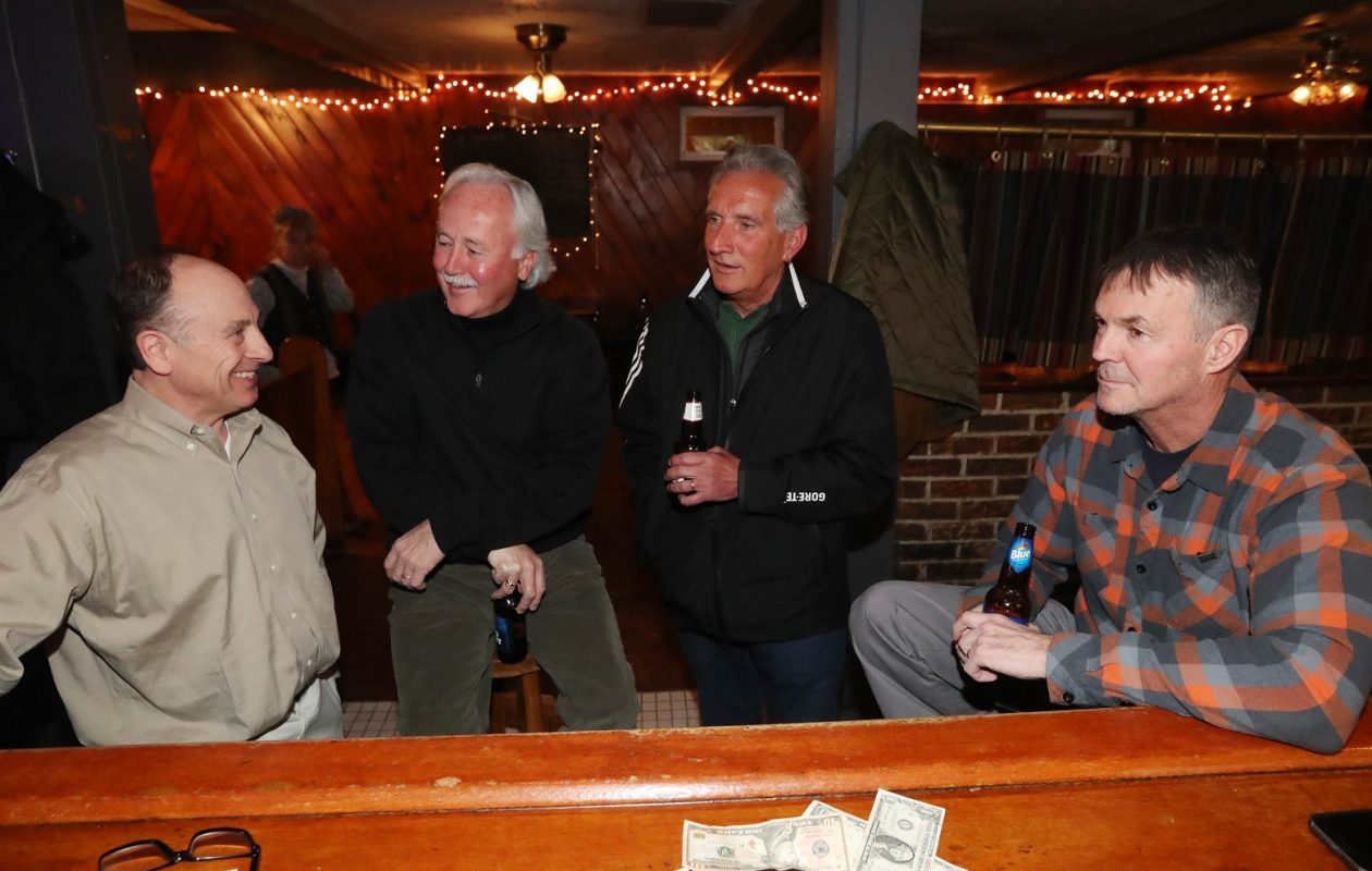 Hanging out from left are Fred Calandra of Clarence, Mike McNulty of Amherst, Paul Haumesser of Williamsville and Bob Cottrell of Amherst. (Sharon Cantillon/Buffalo News)