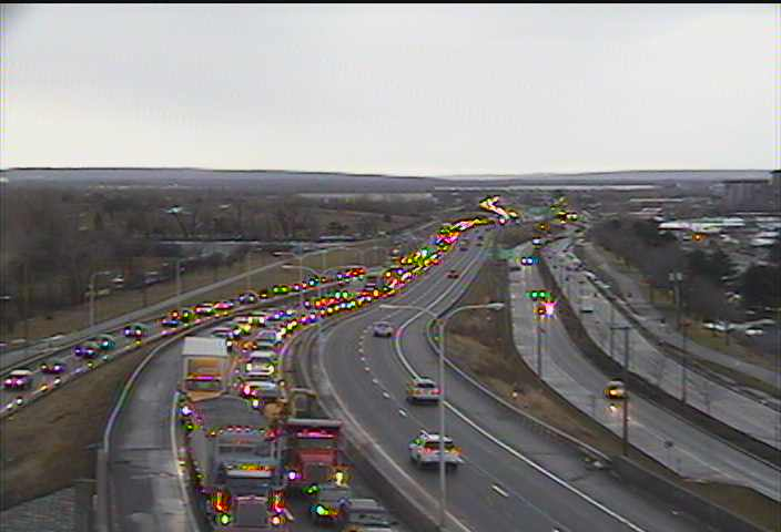 Traffic is backed up on Route 5 on Tuesday, Jan. 23, 2018. (NITTEC photo)