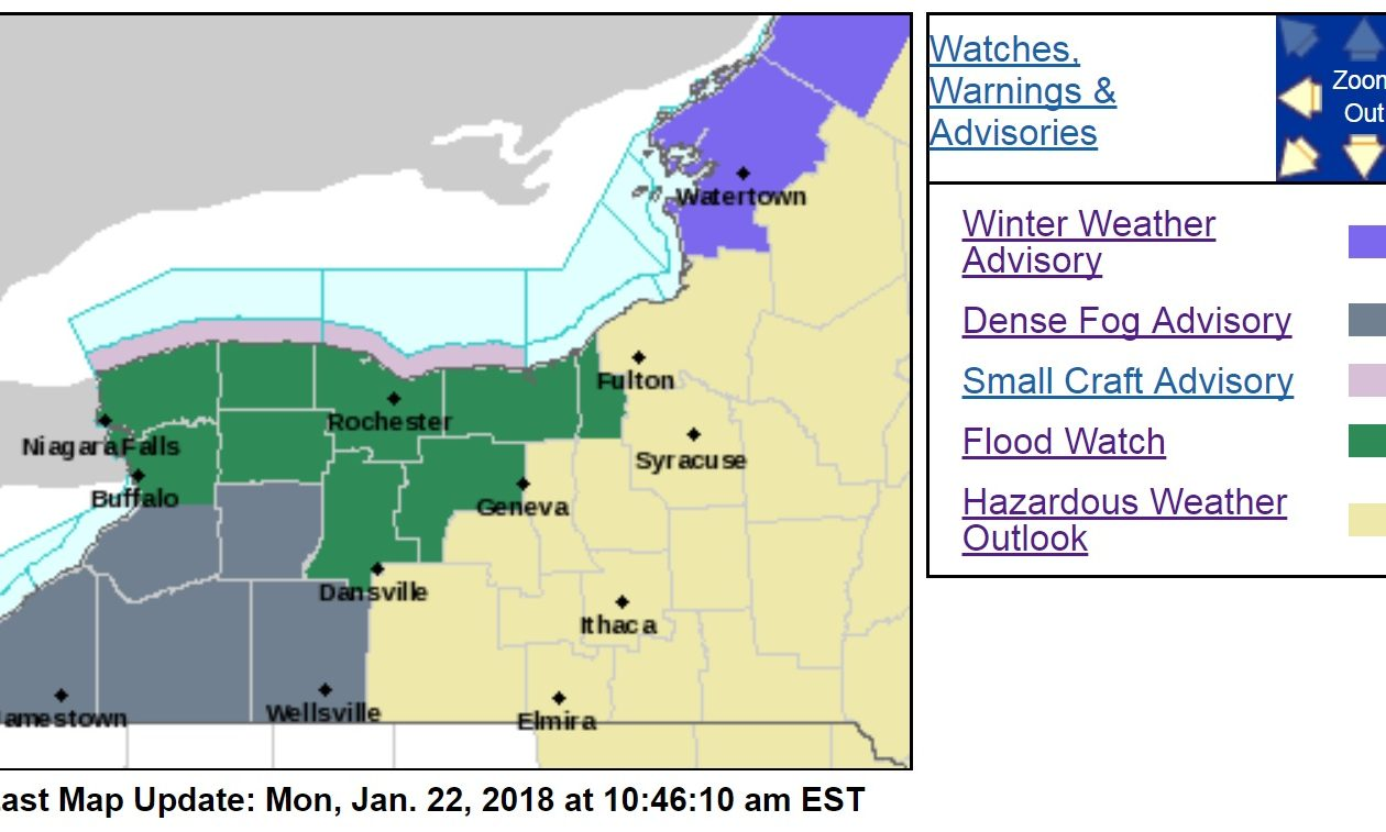 A flood watch is in place for all of Western New York though late Tuesday as melting snow, rains and ice jams threatened to create rising waters on area creeks and streams. A dense fog advisory is also in place for the southern half of the region though this afternoon. (National Weather Service)