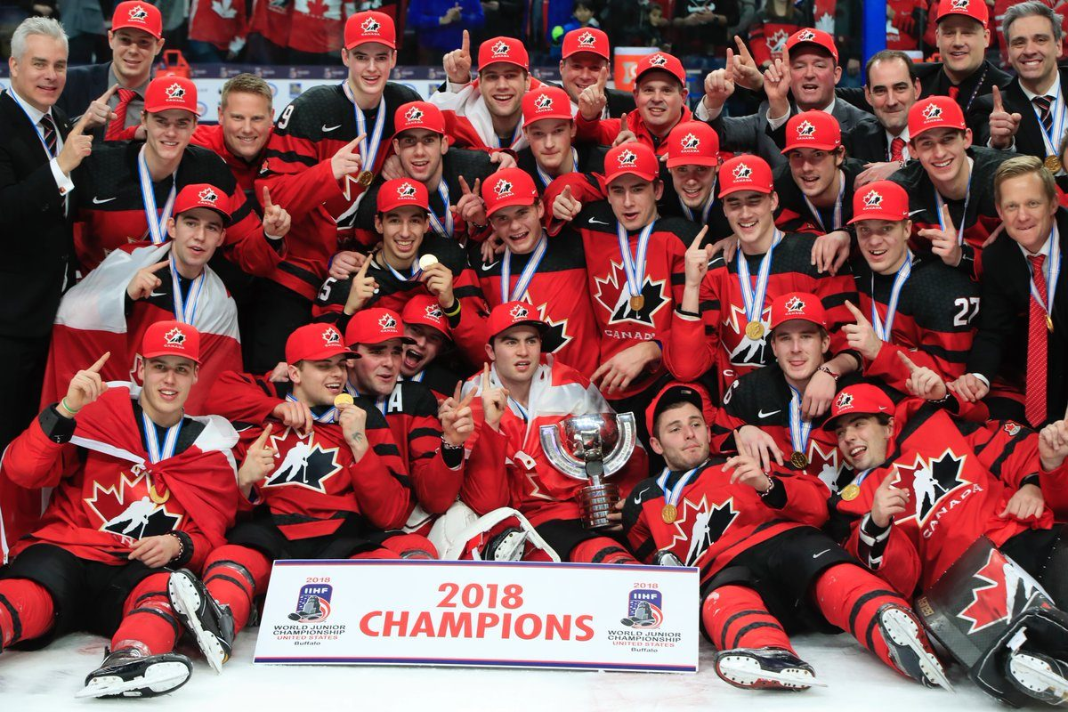Team Canada celebrates its World Junior Championship title at the KeyBank Center. (Harry Scull / Buffalo News)