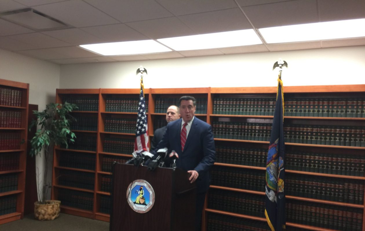 District Attorney John Flynn and State Sen. Tim Kennedy announce support Wednesday for bill that would close loophole to require private schools to report sexual misconduct by teachers. (Maki Becker/Buffalo News)