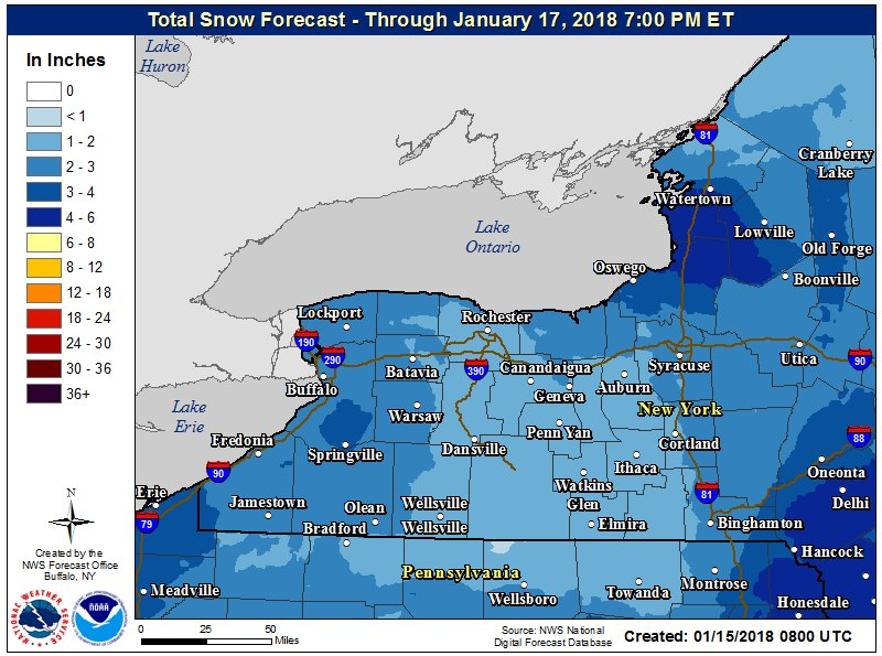 A couple inches of snow is possible between late today and Wednesday, according to the National Weather Service. (NWS Buffalo)