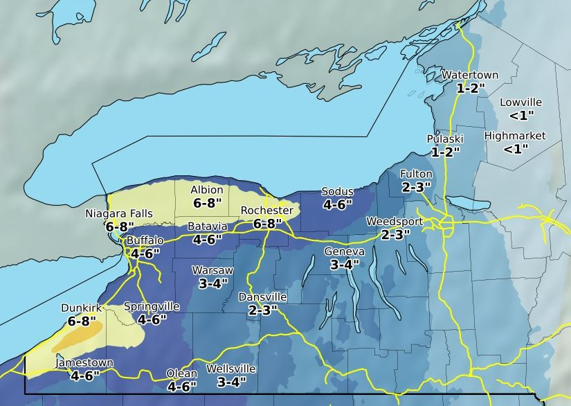 Erie County may see up to six inches of snow. (Image courtesy of the National Weather Service)
