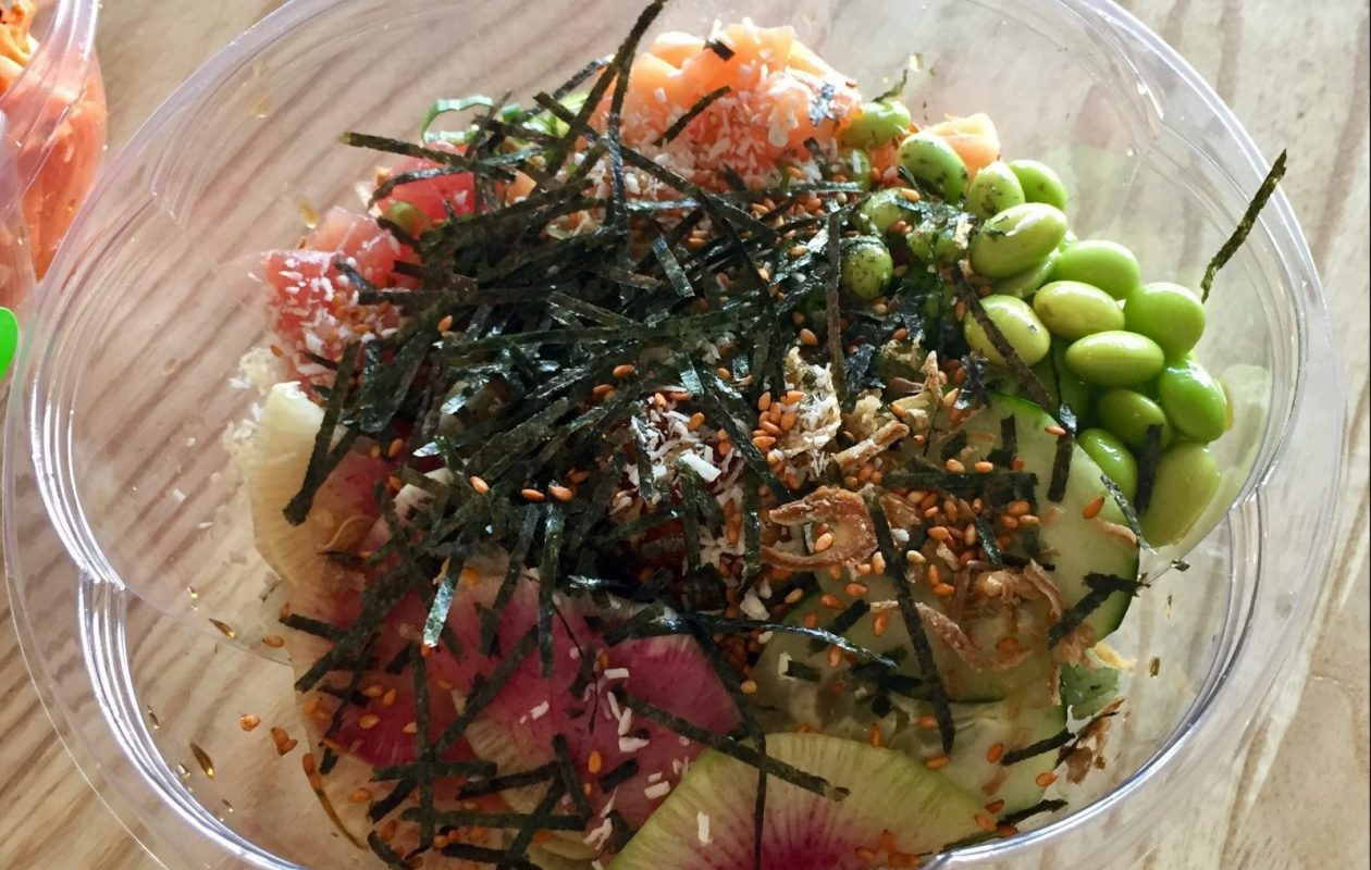 Fresh Catch Poke Co.s deluxe FCPC Bowl with tuna, salmon and the works, including edemame and watermelon radish. (Lauren Newkirk Maynard/Special to The News)