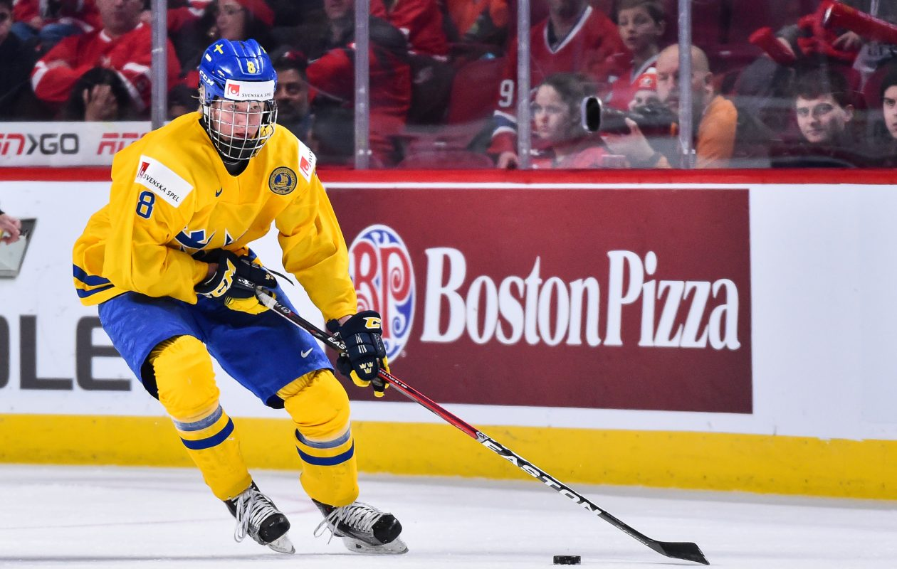 Rasmus Dahlin had two points last year in the World Juniors but has taken on bigger role for Sweden in 2018. (Getty Images)