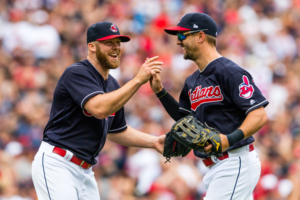 The Chief Wahoo logo on the Cleveland Indians uniforms will be removed after this season. Here, closer Cody Allen celebrates with left fielder Lonnie Chisenhall after Cleveland won their 21st straight game on Sept. 13, 2017. (Getty Images)