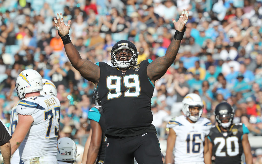 Marcell Dareus #99 of the Jacksonville Jaguars celebrates a play in the second half of their game against the Los Angeles Chargers at EverBank Field on November 12, 2017 in Jacksonville, Florida.  (Photo by Sam Greenwood/Getty Images)