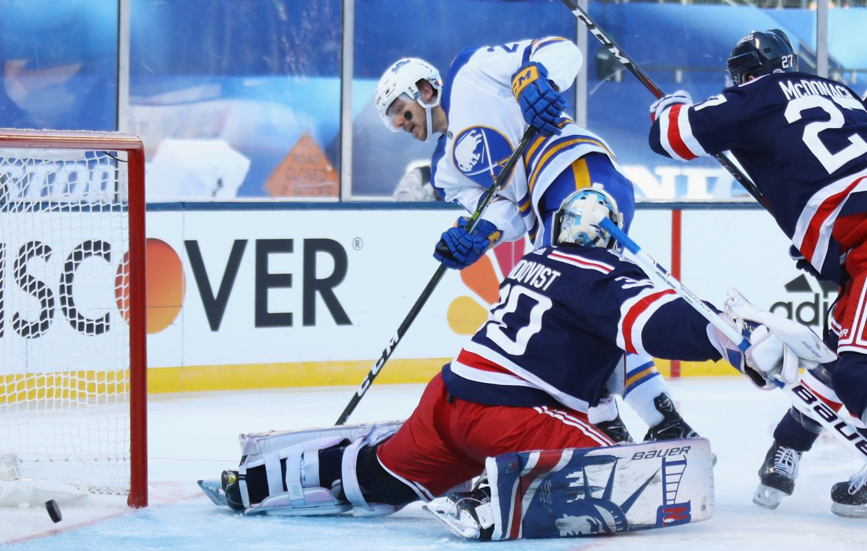The Sabres' Sam Reinhart ended a 16-game goal drought by beating Rangers goalie Henrik Lundqvist in the opening minute of the second period. (Getty Images)