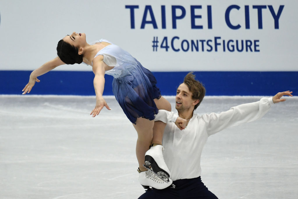 Kaitlin Hawayek and Jean-Luc Baker of the U.S. perform during the free dance program at the ISU Four Continents figure skating championships in Taipei. (Getty Images)