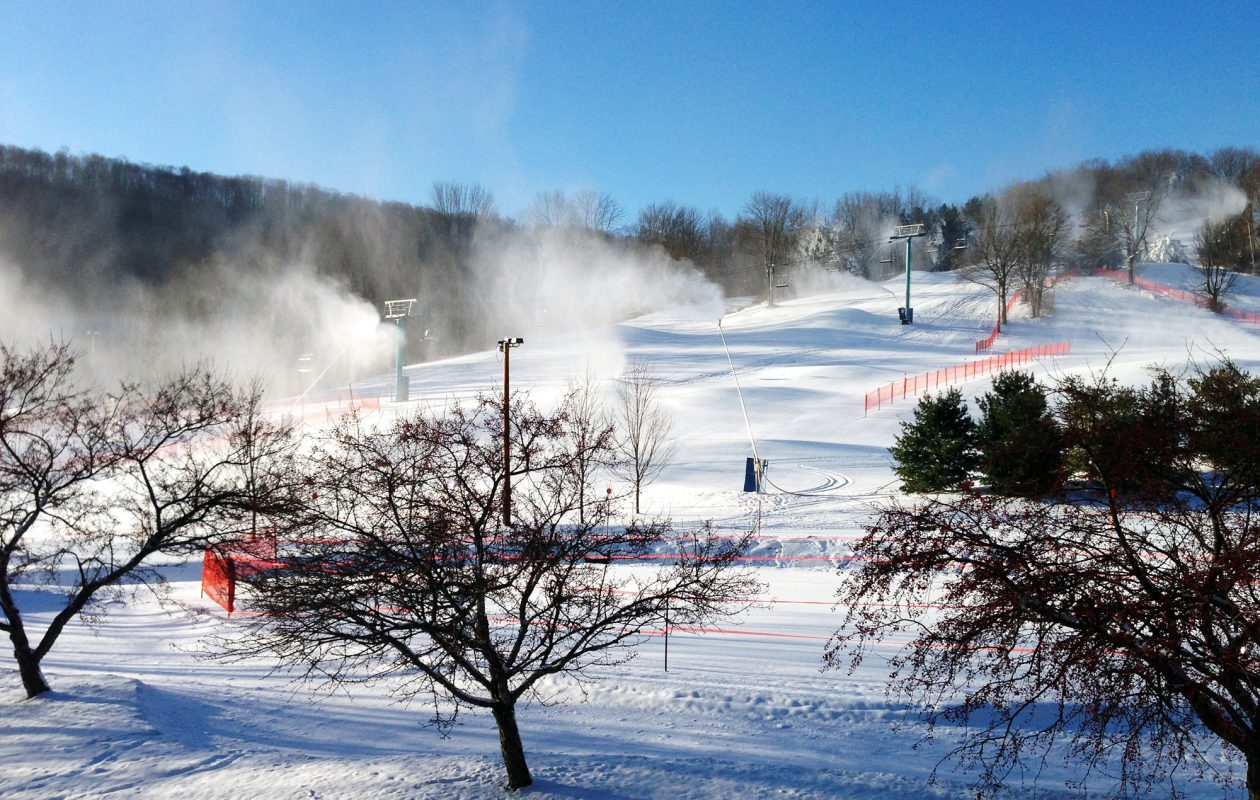 Local resorts, including Holiday Valley, hope for plenty of snow each season, but employ aggressive snow-making tactics to offset unpredictable weather.  (Ellicottville Chamber of Commerce)