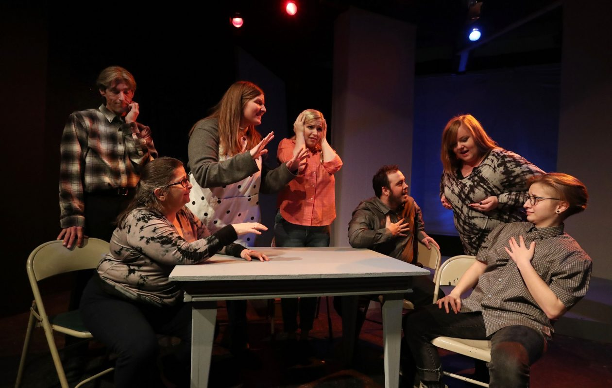 Subversive Theatre rehearses for the opening of 'How I Learned to Drive.' The play runs until Feb. 10. From left are John Profeta, Theresa Di Muro-Wilber, Jenny Gembka, Justin Fiordaliso, Brittany Germano as grandma and Molly/Oliver Lawrence.  (Sharon Cantillon/Buffalo News)