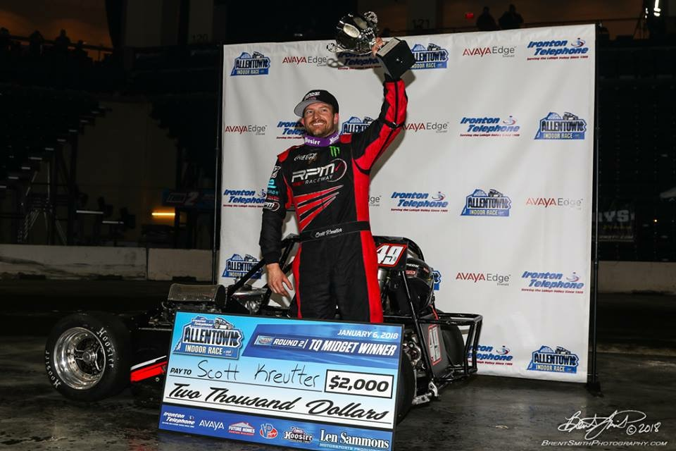 Scott Kreutter celebrates winning the 40-lap A-Main indoor TQ Midget event held at the PPL Center in Allentown, Pa.