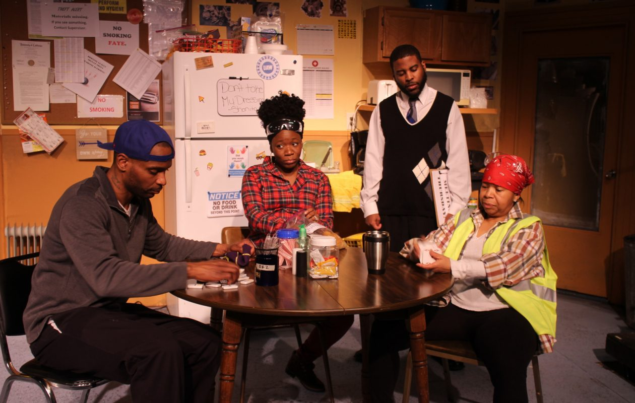 Paul Robeson Theatres production of Skeleton Crew features, from left, Julius Land, Christina Foster, Phil Davis and Verniece Turner.