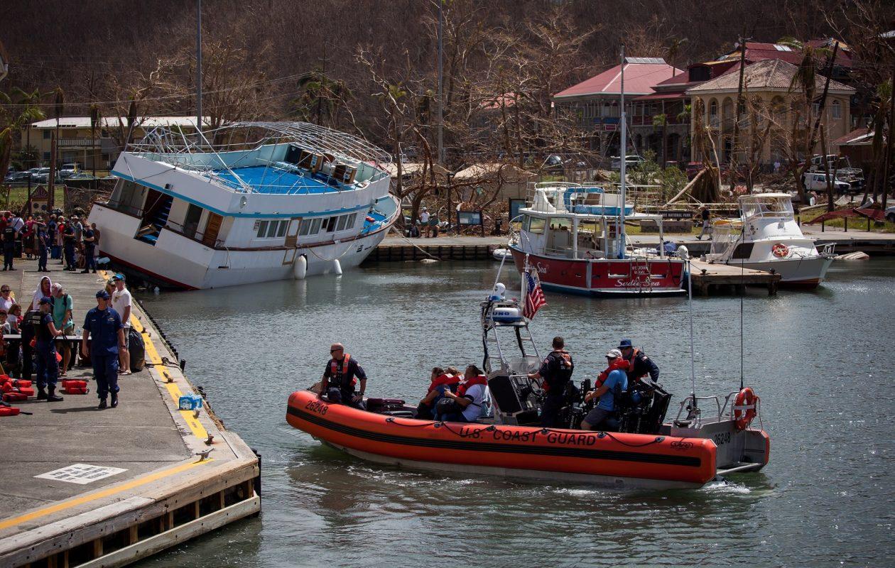 A U.S. Coast Guard boat evacuates people after Hurricane Irma in St John, U.S. Virgin Islands, on Sept. 12. (Bloomberg photo by Michael Nagle)
