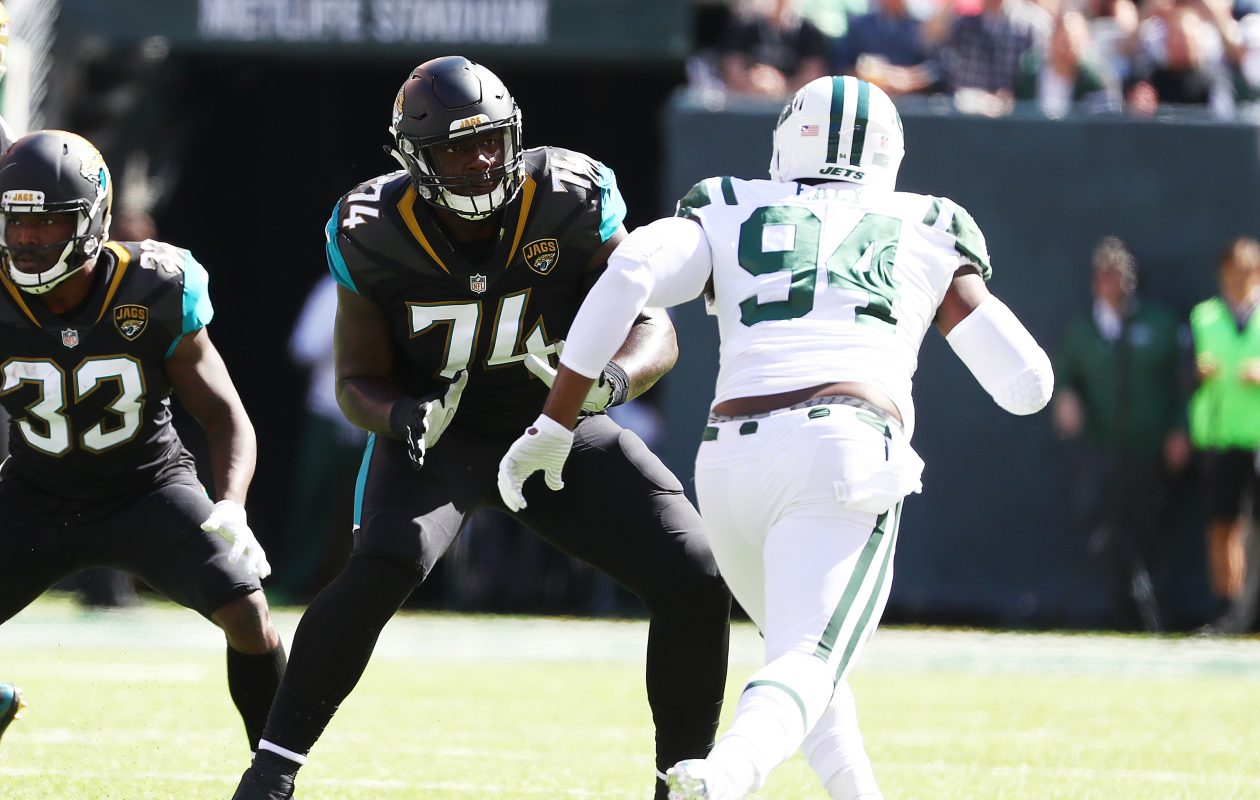 Cam Robinson #74 of the Jacksonville Jaguars in action against  Kony Ealy #94 of the New York Jets during their game at MetLife Stadium on October 1, 2017 in East Rutherford, New Jersey.  (Getty Images)